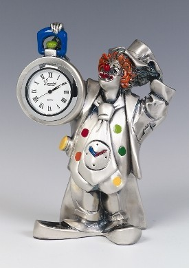 Silver Clown Clock