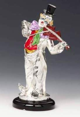 Silver Clown Playing Violin